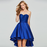 Tanpell asymmetry homecoming dress royal blue lace sleeveless a line gown women back lace up cocktail custom homecoming dresses