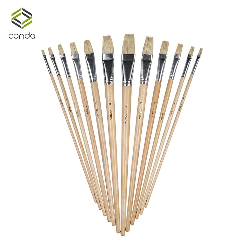 CONDA 12Pcs Brand Bristle Brush Oil Painting Brush Set School Student Gifts Acrylic Drawing Watercolor Flat Brushe Art Supplies