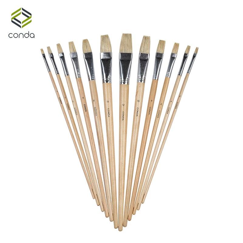 Conda 12pcs brand bristle brush oil painting brush set for Best paint brush brands