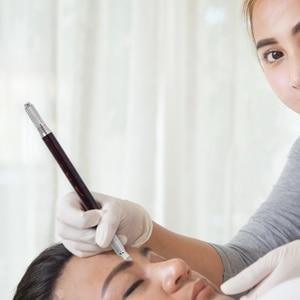Image 5 - Pluma Manual para tatuaje de cejas, delineador de ojos, maquillaje permanente, máquina de tatuaje de madera, mármol, agujas redondas, 10 Uds.