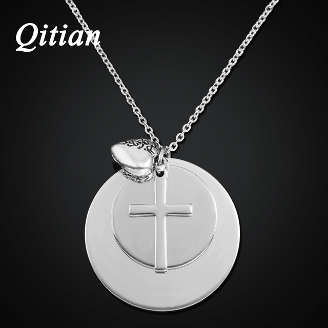 e8dca35f6d4 Qitian Nombre Personalizado Collar con la Cruz de Los Encantos de Acero  Inoxidable Disco Pila Collar