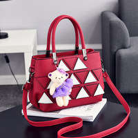 Wine Red Casual PU Women Shoulder Bag Office Lady Handbag Triangle Leather Decoration Crossbody Messenger