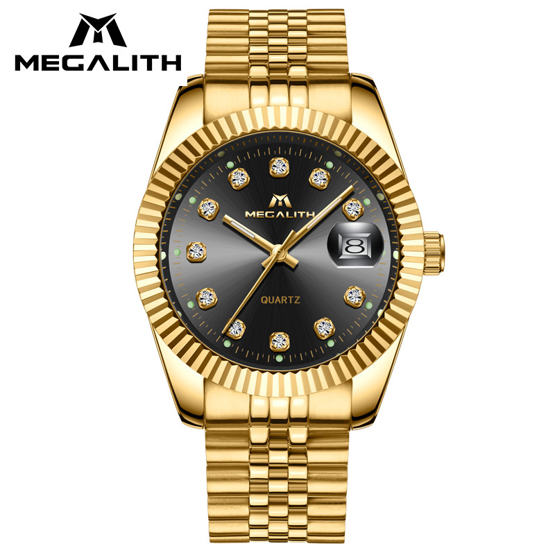 Luxury Gold Case Watch Men MEGALITH Waterproof Date Analogue Quartz Wrist Watch Gents Stainless Steel Business Casual Men Watch megalith quartz watches mens waterproof chronograph calendar silver stainless steel wrist watch gents sport business men s watch