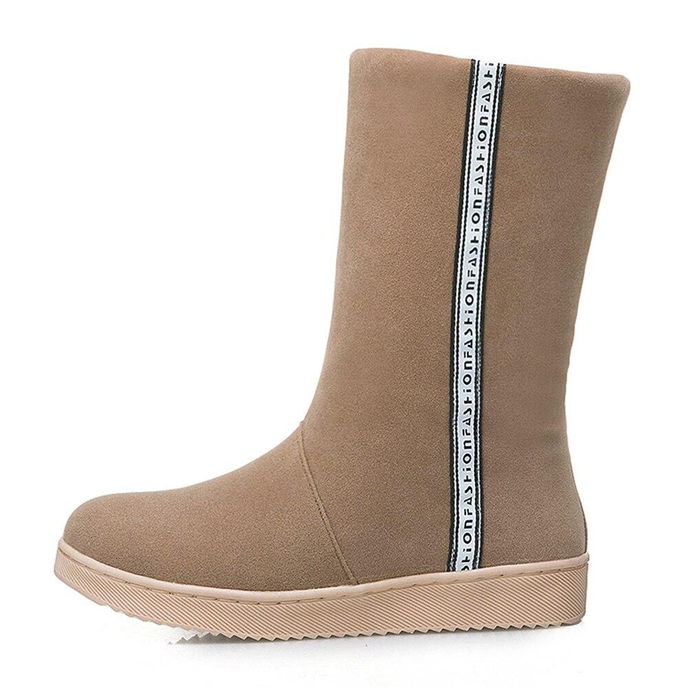 31 41 On Piel Slip Calf 2018 rojo Grande Doratasia Mujer Añadir Nieve De Zapatos Tamaño Calientes Camel Invierno Mid Botas negro ICYIqw