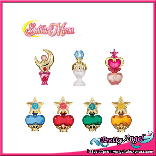 PrettyAngel - Original Bandai 20th Anniversary Sailor Moon Prism Perfume Bottle Vol.1 Gashapon Mini Figures - Set of 7 PCS sailor moon capsule communication instrument machine accessory gashapon figure anime toy full set 100