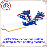 SPE41Z Four Color One Station Single Wheel Desktop Screen Printing Machine Squeegee As Gift