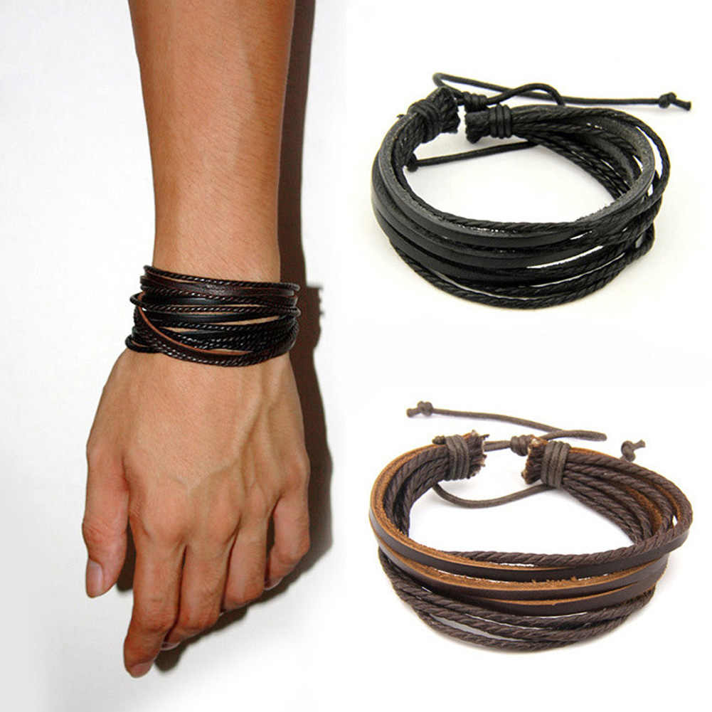 2016Hot 100% hand-woven Fashion Jewelry Wrap multilayer Leather Braided Rope Wristband men bracelets & bangles for women