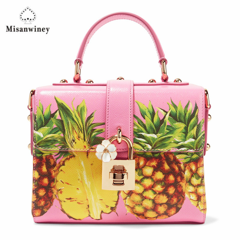 Ananas Bag Leder Rosa Frauen Tasche Crossbody Niedliche Misanwiney Design Lustige Winter Mädchen Messenger Flap Bags Obst Mini Wxa5xZqn