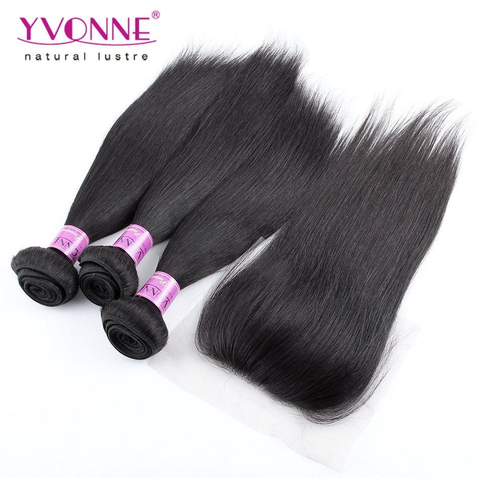 3 Bundles Brazilian Straight Hair With Closure, 100% Brazilian Virgin Hair With Closure, Top Quality Aliexpress YVONNE Hair