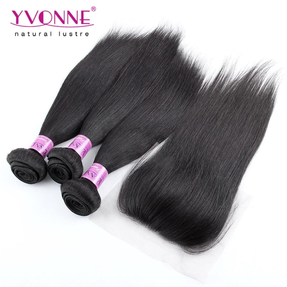 3 Bundles Brazilian Straight Hair With Closure, 100% Brazilian Virgin Hair With Closure, Top Quality Aliexpress YVONNE Hair