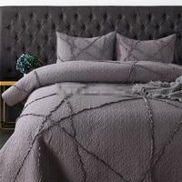 3 шт. 100% хлопок сплошной цвет вышивка тиснением серый лоскутное одеяло Полный queen Размер кондиционер покрывало Бесплатная доставка AL