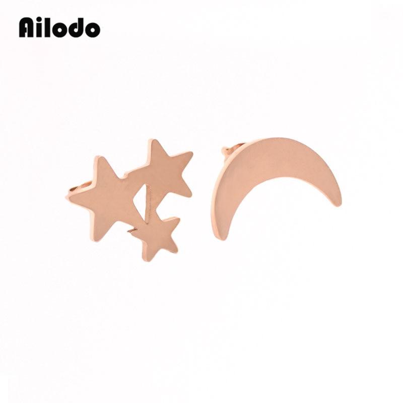 Ailodo Titanium Steel Moon Star Stud Earrings For Women Rose Gold Color Korean Minimalist Earrings Jewelry Accessories LD045 in Stud Earrings from Jewelry Accessories