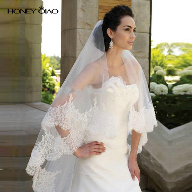 2016 Honey Qiao Lace Bridal Veils White Ivory Cathedral Wedding Veil With Lace Edge Long One Layer Sequins Wedding Accessories