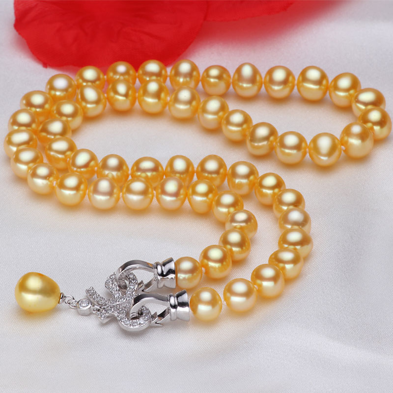 Women Gift word 925 Sterling silver real [bright pearl] fresh water, 8mm-9mm gold, nearly round pearl necklace, 925 silver richWomen Gift word 925 Sterling silver real [bright pearl] fresh water, 8mm-9mm gold, nearly round pearl necklace, 925 silver rich