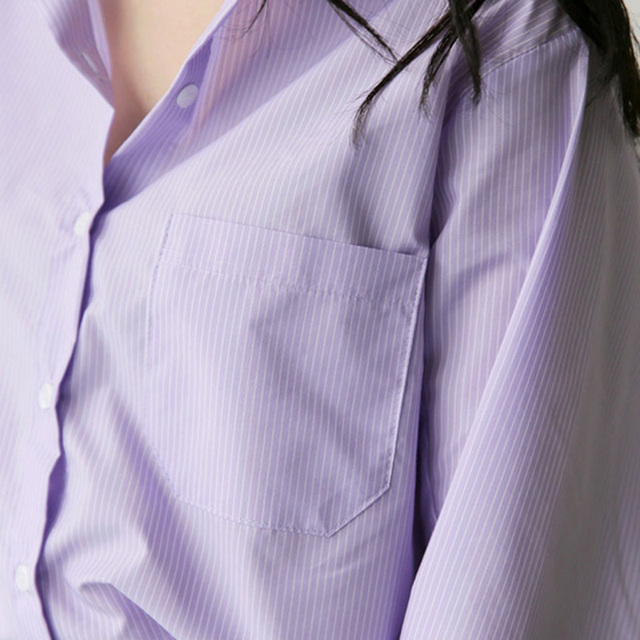 Spring Women Blouse Striped Turn-down Collar Office Lady Tops Full Sleeve Women Shirts Light Purple Fashion Female Tops blusas 4