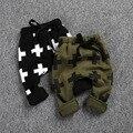 Grueso boy pantalones harem cruz impreso verde del ejército negro gris cálido leggings de algodón pantalones de niño del bebé del otoño invierno 2-6 T de los niños