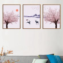Japanese Landscape Cherry Blossoms Canvas Paintings Flowers Mountain Abstract Poster Nordic Deer Wall Art Picture Unframed