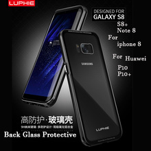 Luphie Brand Aluminum Metal Frame Case Back Cover for Samsung Galaxy S8 / S8 Plus / note 8+ 9H Transparent Tempered Glass
