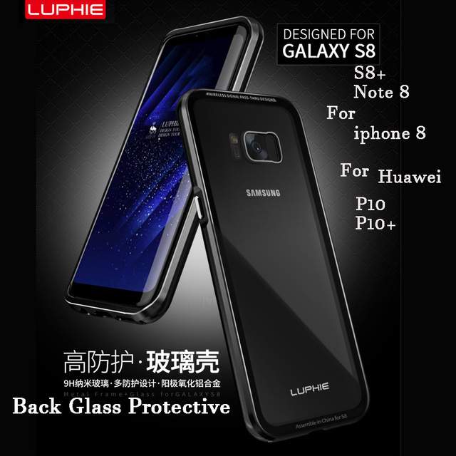 lowest price ea44a 4a5b6 US $14.39 10% OFF|Luphie Brand Aluminum Metal Frame Case Back Cover for  Samsung Galaxy S8 / S8 Plus / note 8+ 9H Transparent Tempered Glass-in  Phone ...