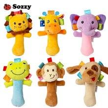 Sozzy Lovely Plush Stuffed Animal Baby Rattle Squeaky Sticks Toys Hand Bells for Children Newborn Gift Comfort 6 Styles Elephant