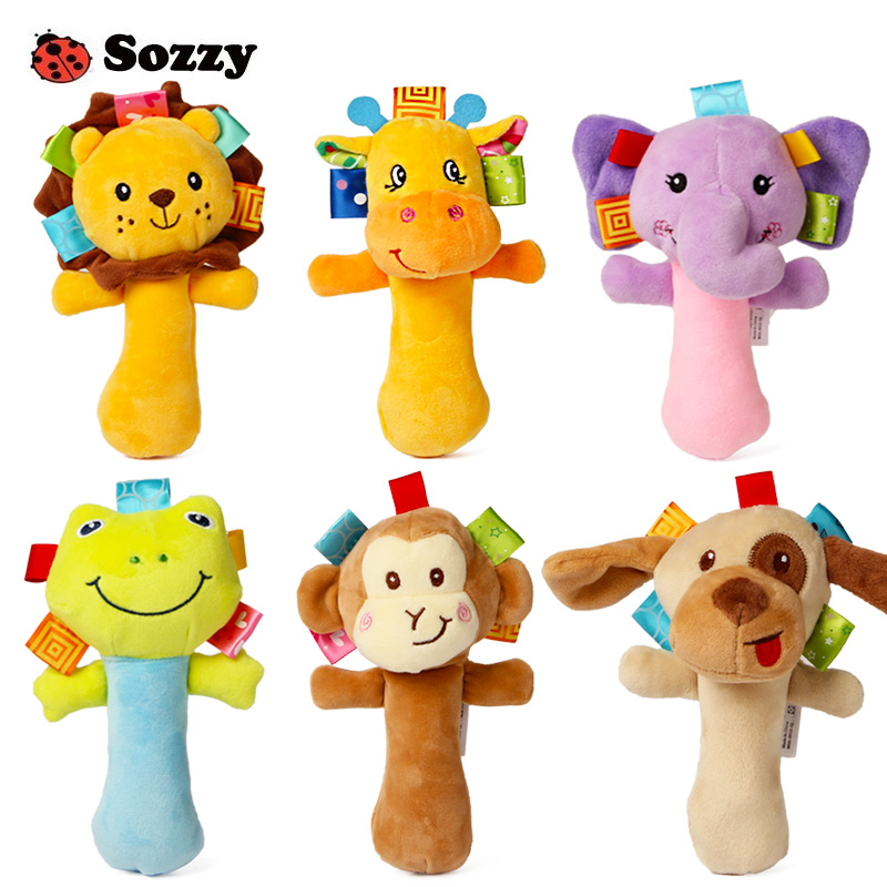Sozzy Lovely Plush Stuffed Animal font b Baby b font Rattle Squeaky Sticks Toys Hand Bells