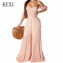 KEXU Sexy Women Striped Loose Boot Cut Jumpsuits Elegant Off Shoulder Pink Casual Wide Leg Playsuits Strapless Summer Clothing