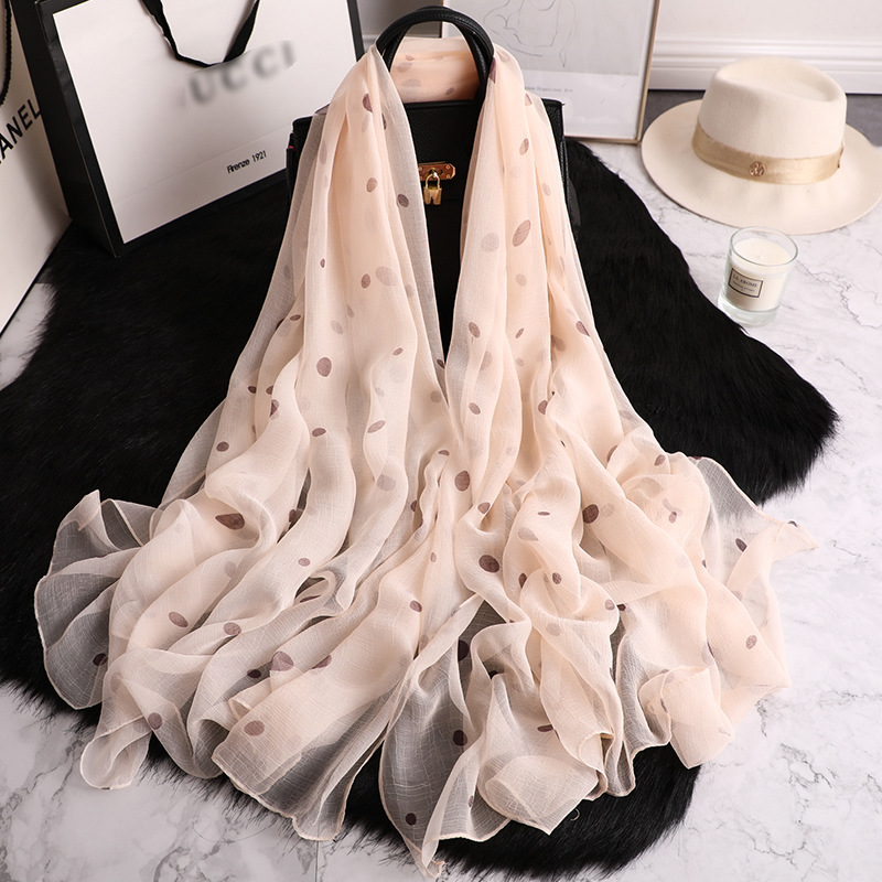 2020 Hot Sale Summer Women Scarf Big Size Pashmina Silk Scarves Dot Print Beach Stoles Shawls And Wraps Silk Scarves Hijabs