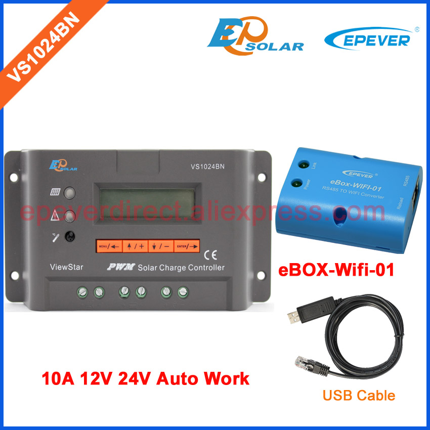 12V 24V Solar panel system regulator with USB cable connect PC and eBOX-Wifi-01 VS1024BN New PWM series controller 10A vs1024bn new pwm controller network access computer control can connect with mt50 for communication