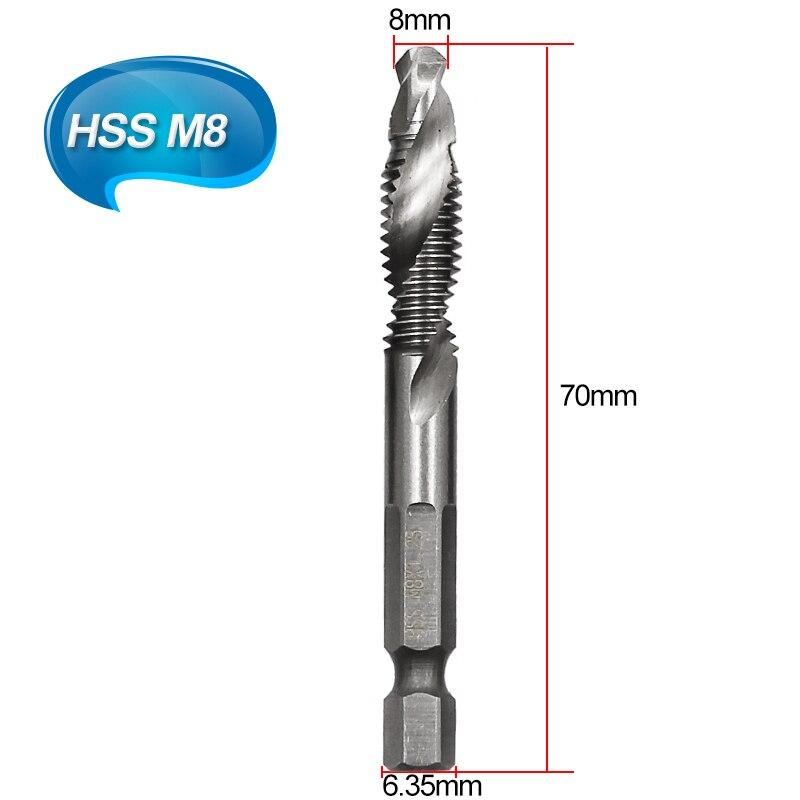 M3-M10 HSS 4341 композитный кран сверло Резьба спиральный винт кран 6,35 мм 1/4 ''шестигранный - Цвет: M8 1pc