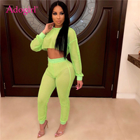 f8f8aedc5e Adogirl Fashion Sexy Fishnet Two Piece Set O Neck Long Sleeve Crop Top  Pants With Panties