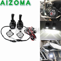 Motorcycle LED Spotlight w/Grill Guard Fog Light Wiring Harness Kit Universal For BMW R1200GS F800GS Versys KTM Adventure 05 13