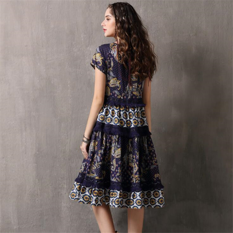New Arrive Retro Lace Splice Dress Vestidos Women Fashion Casual Cotton Dress Summer Vintage Printing Party Dresses Vestido-in Dresses from Women's Clothing    3