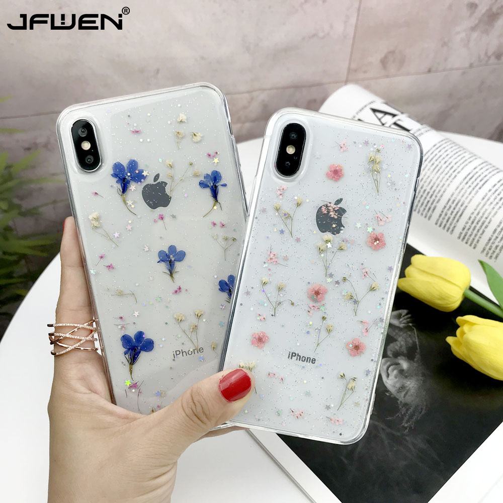 Real Dried Flowers Case For Phone XS XR XS Max Cases Transparent Soft TPU Phone Case For iPhone X 6 6S 7 8 Plus Cover Silicone