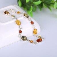 JIUDUO ювелирные изделия Подлинная Мода, натуральный балтийский янтарь браслет, ювелирный браслет, 925 Серебряный инкрустированный янтарный бр