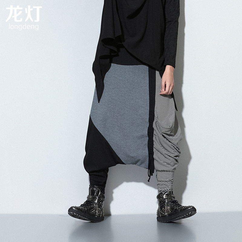 Trousers Men Pant Streetwear Punk Large Hip-Hop Splice Rock Skirt Trendsetter Hot-Sale