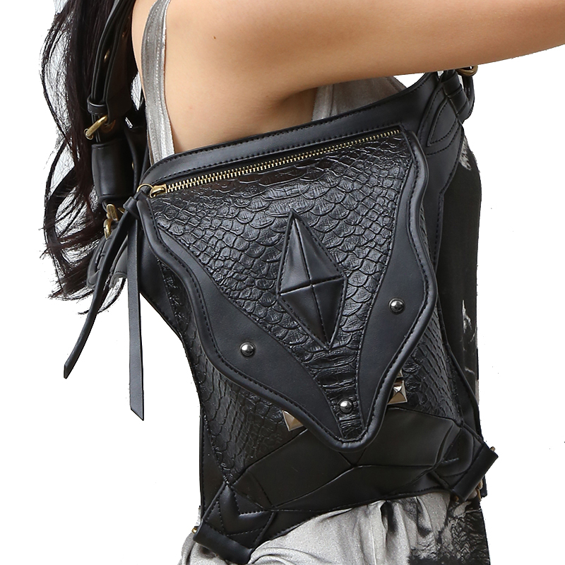 Steampunk Leg Bag for Women Men Messenger Shoulder Bag Black Vintage Waist Bags 2017 High Hip Holster Wallet Purse Pouch
