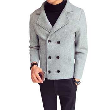 Autumn Winter Solid Color High Quality Short Wool Coat Men Suit Collar Double-breasted Slim Fit Youth Casual Simple Male Jackets