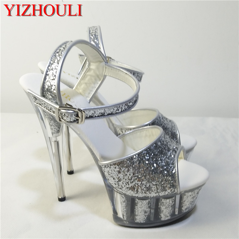 Nightclub Sex Women's Shoes, 15CM High Heel Crystal Colour Heart And Sequins, Wedding Dance Shoes