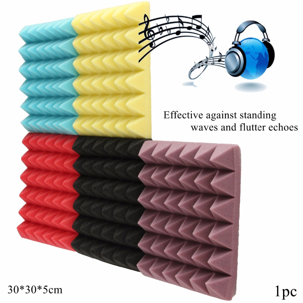 1Pcs 30x30x5cm Soundproofing Foam Studio Acoustic Soundproof Foam Sound Absorption Treatment Panel Tile Wedge Protective Sponge