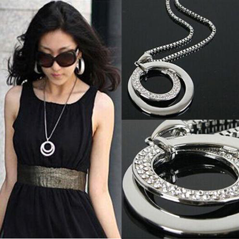 Hot Long Sweater Chain Necklace Women Fashion Crystal Rhinestone Chunky Silver Plated Double Circle Pendant Necklace