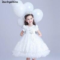 Prenses Balo Beyaz Dantel Çiçek Kız Elbise Düğün İçin Ucuz 2017 Tül Kısa Kollu Balo İlk Communion elbise