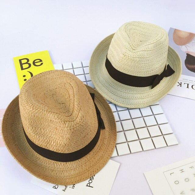 Niños navegante sol gorras cinta superior trilby fedora de la paja sombrero  de panamá sombreros de 05568da531b