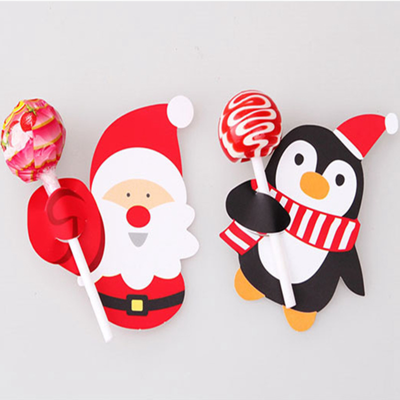 50pcs hot penguin santa claus lollipop cards paper birthday party decorations christmas candy gift for kids in cake decorating supplies from home garden - Lollipop Christmas Decorations