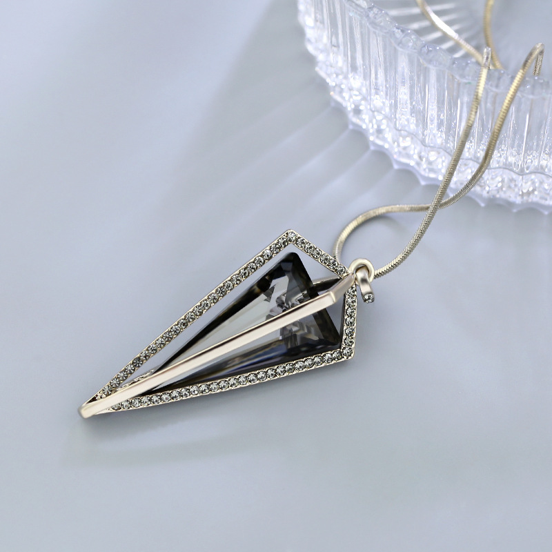Simple Crystal Triangle Long Necklaces Pendants For Women 2019 New Geometric Sweater Necklace Jewelry Wholesale in Pendant Necklaces from Jewelry Accessories