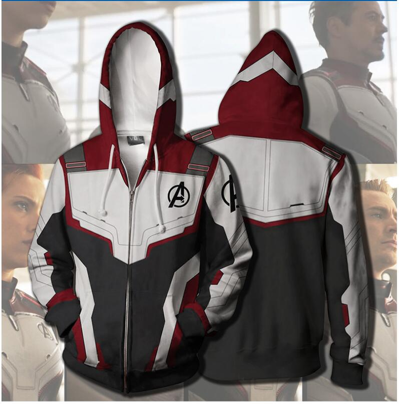 3D Printed Avengers 4 Endgame Quantum Realm Cosplay Costume Hoodies Men Zip Up Hooded Sweatshirt Polyester Jacket Clothing