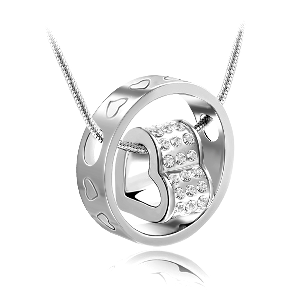Crystal Rhinestones Silver Color Heart Love Chain Necklaces & Pendants For Women Necklace Fashion