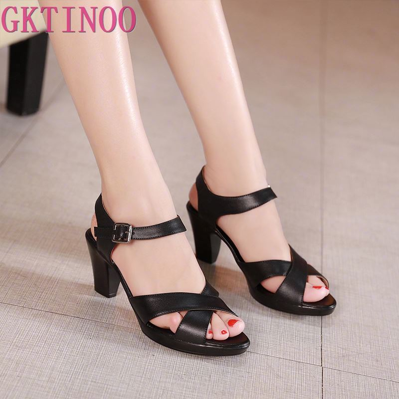 GKTINOO New Open Toe Genuine Cowhide Leather Sandals Women Shoes High Heel Sandals Fashion Casual Shoes Women Sandals Plus Size