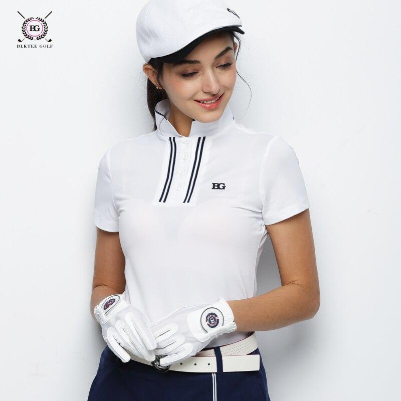 2018 BLK TEE women golf shirts short sleeve summer sports fabric stand collarT shirt golf training apparel lady top jersey new