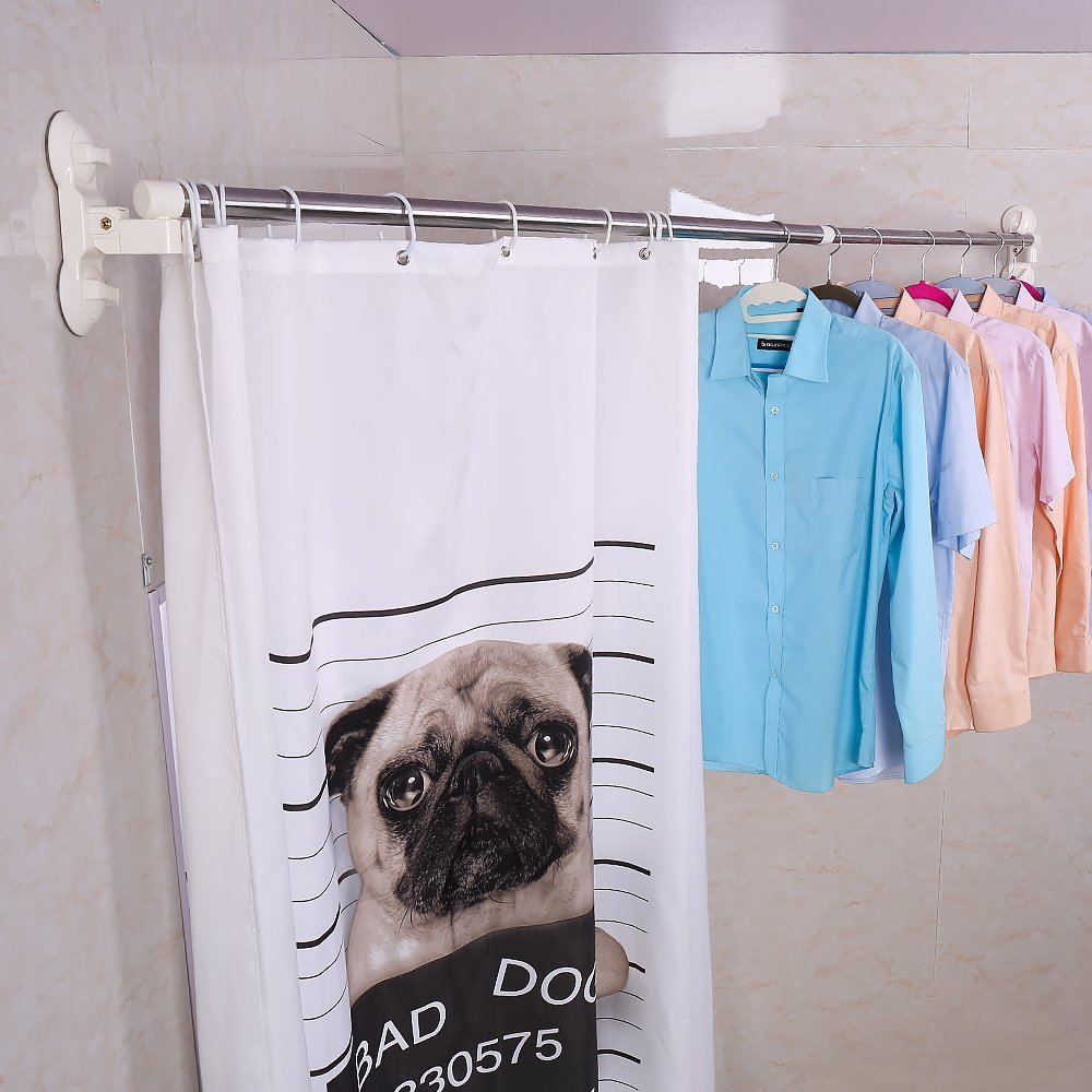 Expandable Shower Curtain Rail Pole Bath Rod Clothes Towels Bar Hanger Clothing Drying Rack 5118