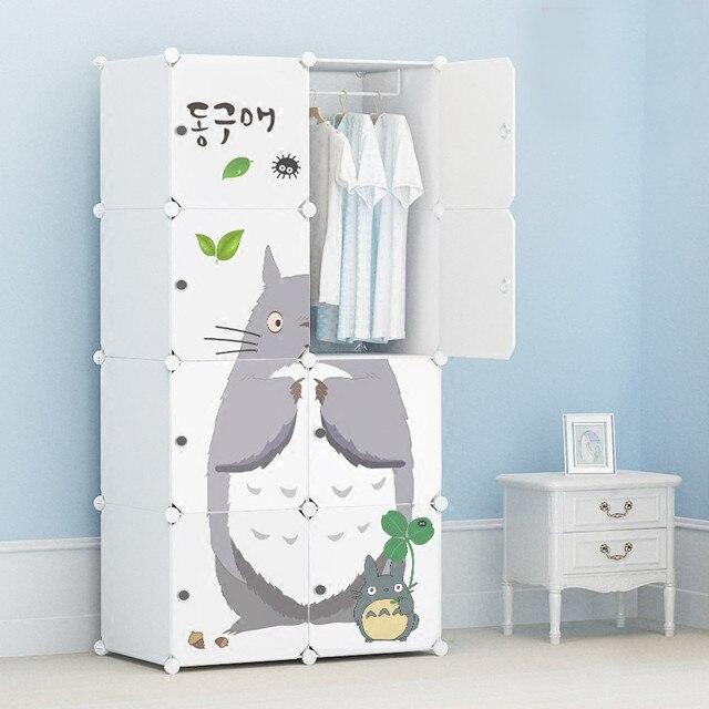 Cartoon door Freestanding ABS Plastic diy folding cupboard baby wardrobe cupboard baby Dust seal wardrobe for clothes env
